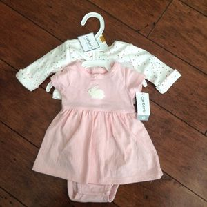 Carters Dress Pink White Cardigan Bunny Easter NB